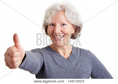 Happy Elderly Woman Holding Thumbs Up
