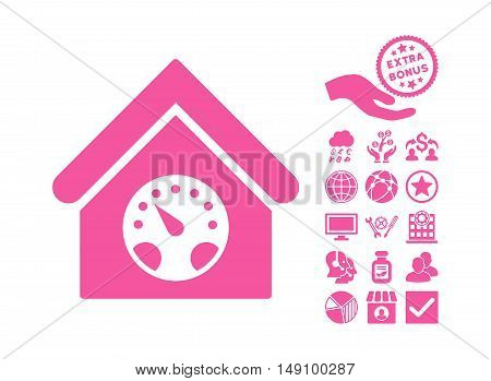 Meter Building pictograph with bonus symbols. Vector illustration style is flat iconic symbols pink color white background.