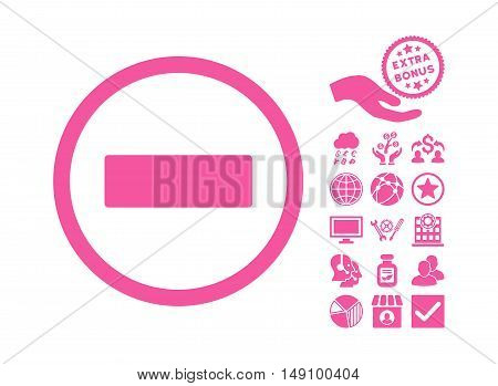 Minus pictograph with bonus pictures. Vector illustration style is flat iconic symbols pink color white background.