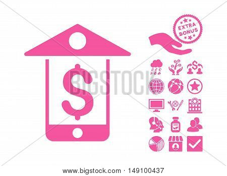Mobile Bank pictograph with bonus clip art. Vector illustration style is flat iconic symbols pink color white background.