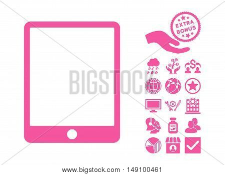 Mobile Tablet pictograph with bonus pictogram. Vector illustration style is flat iconic symbols pink color white background.