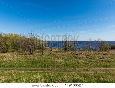 coast of the Gulf of Finland in Kronstadt calm sunny day