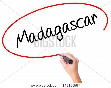 Women Hand Writing Madagascar With Black Marker On Visual Screen