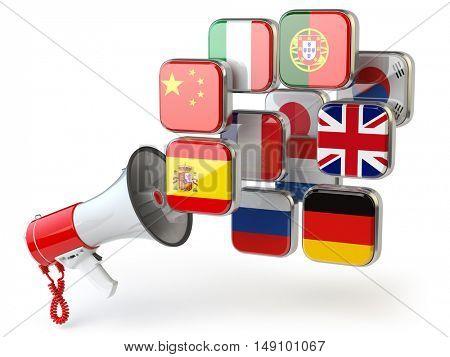 E-learning or online translator concept. Learning languages online. Megaphone and flags. 3d illustration