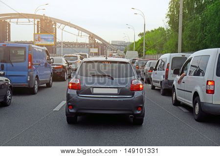 Cars in traffic jam