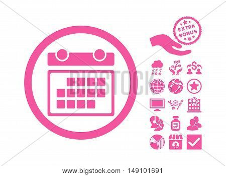 Month Calendar pictograph with bonus images. Vector illustration style is flat iconic symbols pink color white background.