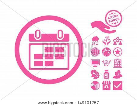 Month Calendar icon with bonus design elements. Vector illustration style is flat iconic symbols pink color white background.