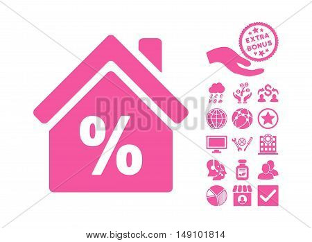 Mortgage Discount pictograph with bonus elements. Vector illustration style is flat iconic symbols pink color white background.