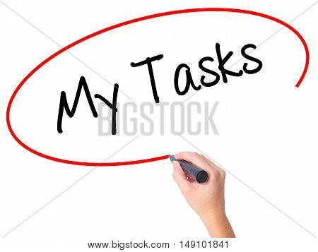 Women Hand Writing My Tasks With Black Marker On Visual Screen.