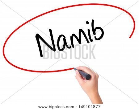 Women Hand Writing Namib  With Black Marker On Visual Screen