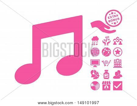 Music Notes pictograph with bonus pictogram. Vector illustration style is flat iconic symbols pink color white background.