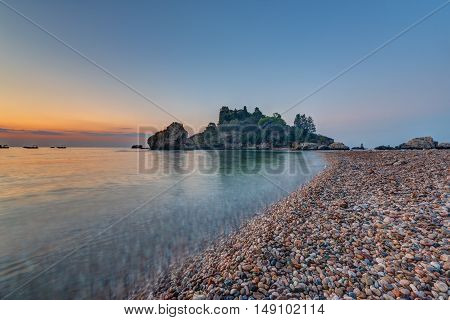 The Isola Bella in Taormina, Sicily, at sunrise