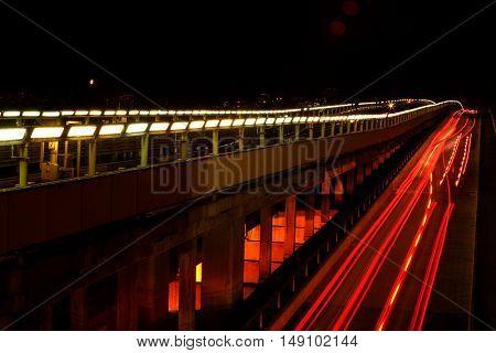 Night bridge with lights