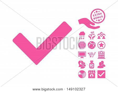 Ok pictograph with bonus design elements. Vector illustration style is flat iconic symbols pink color white background.