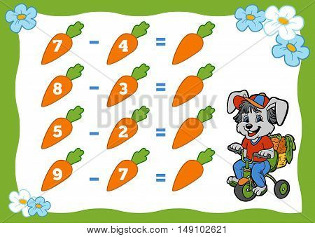 Counting Game For Children. Subtraction Worksheets. Rabbit And Carrots.