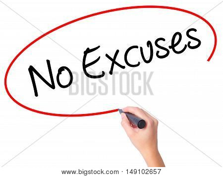 Women Hand Writing No Excuses  With Black Marker On Visual Screen