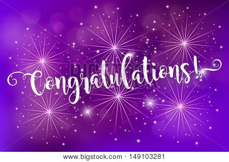 Congratulations. Card blue fireworks glowing fire blurred blue purple background. Poster, greeting card, banner invitation. Hand drawn design, handwritten modern brush lettering vector