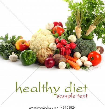 Organic food background. Food photography different fruits and vegetables isolated white background. Copy space. High resolution product