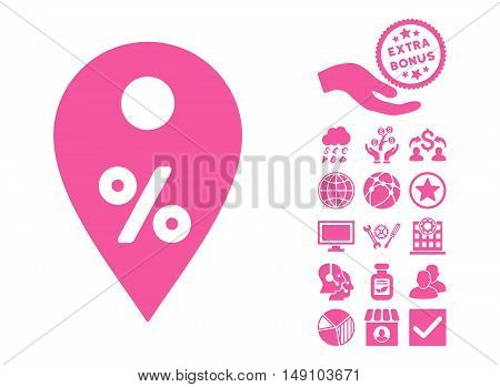 Percent Map Marker icon with bonus symbols. Vector illustration style is flat iconic symbols pink color white background.