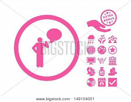 Person Idea icon with bonus icon set. Vector illustration style is flat iconic symbols pink color white background.