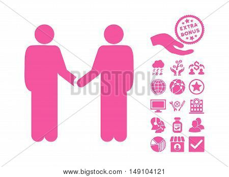Persons Handshake pictograph with bonus symbols. Vector illustration style is flat iconic symbols pink color white background.