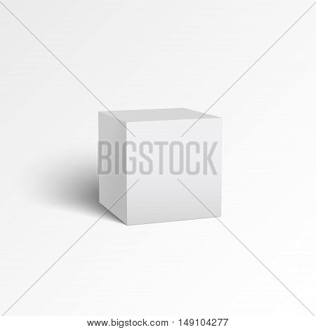 White cube with shadow isolated on white background. Ready for your design. Vector EPS10.