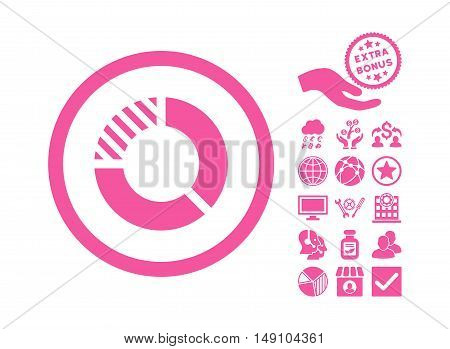 Pie Chart icon with bonus clip art. Vector illustration style is flat iconic symbols pink color white background.