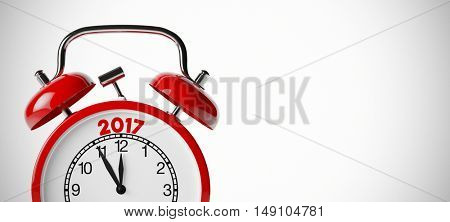 New Year 2017 background with retro red alarm clock (3D Rendering)