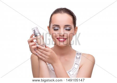Woman with bottle of perfume isolated on white