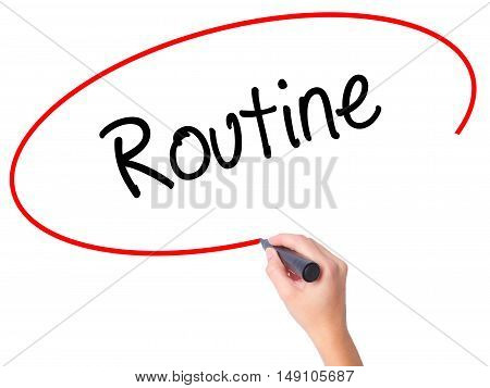 Women Hand Writing Routine  With Black Marker On Visual Screen