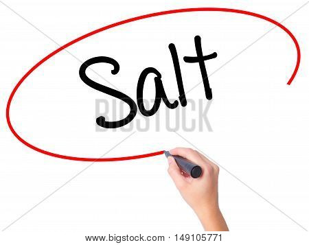 Women Hand Writing Salt With Black Marker On Visual Screen