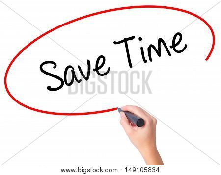 Women Hand Writing Save Time With Black Marker On Visual Screen