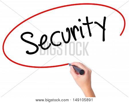 Women Hand Writing Security With Black Marker On Visual Screen