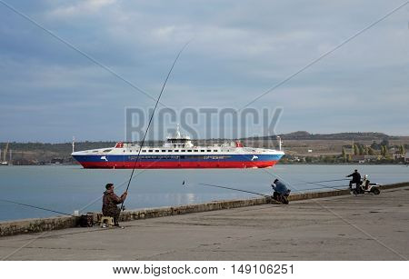 Kerch, Crimea, Ukraine, September 23, 2016. Sea ferry in the port of Kerch during the Russian occupation