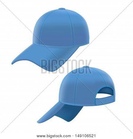 Realistic Blue Baseball Cap Set on White Background. Vector illustration
