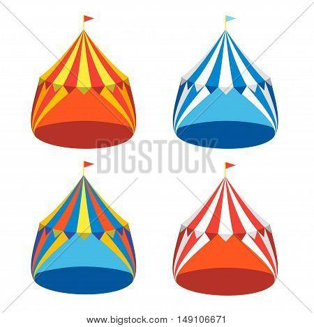 Circus Tent Colorful Set. Flat Design. Vector illustration