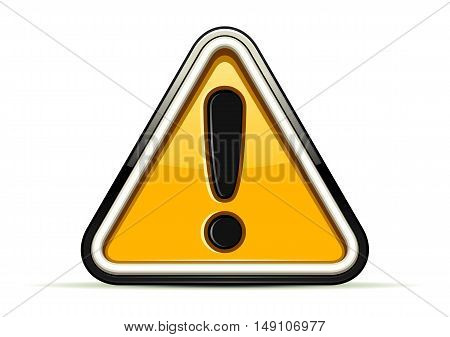 Isolated yellow warning sign at white background