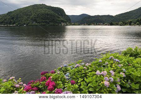 View of the Lake of Lugano (Ceresio) at Ponte Tresa (Varese Lombardy Italy)