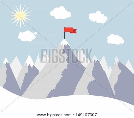 Mountain Peak with Red Flag. Concept Winning Strategy. Vector illustration