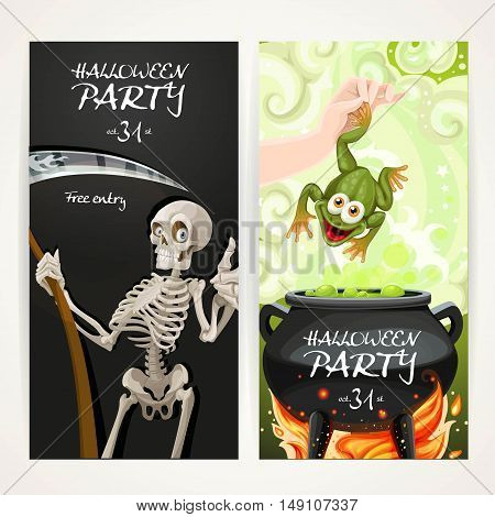 Vertical banners for Halloween party with Death with a scythe and arm throwing a toad in a magic potion cauldron