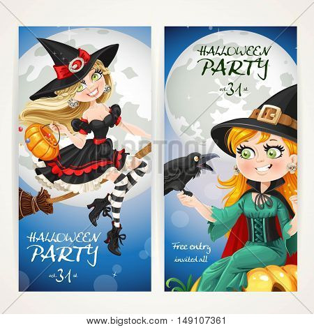 Vertical banners for Halloween party with witch flying on a broom and sit on pumpkin with crow on full moon background