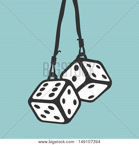 Car Keychain Casino Dice Vector Illustration eps 8 file format