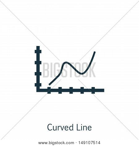 Vector Illustration Of Statistics Icon On Curved Line Chart In Trendy Flat Style. Statistics Isolate