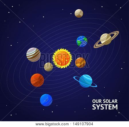 Solar System Planets and Sun on a Dark Sky. Flat Design Style. Vector illustration