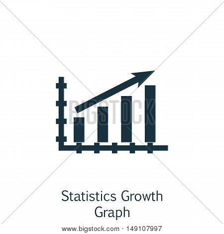 Vector Illustration Of Statistics Icon On Statistics Growth Chart In Trendy Flat Style. Statistics I