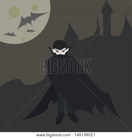 Vampire or Dracula Halloween Flat Cartoon Illustration