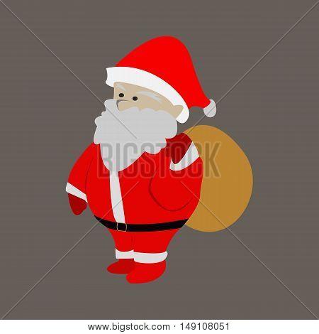 Santa Claus Bring Present Flat Cartoon Illustration