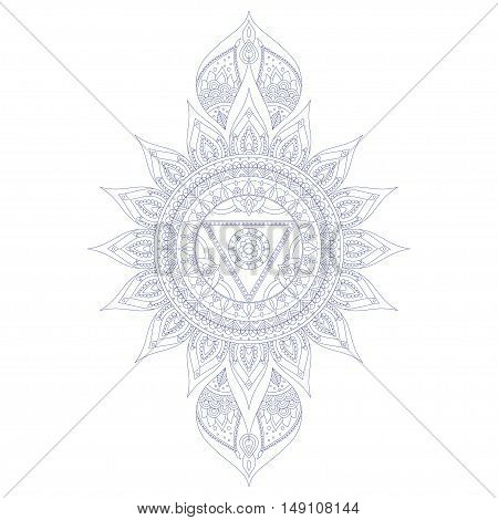 Chakra Vishuddha for Henna Tattoo and for Your Design. Vector illustration