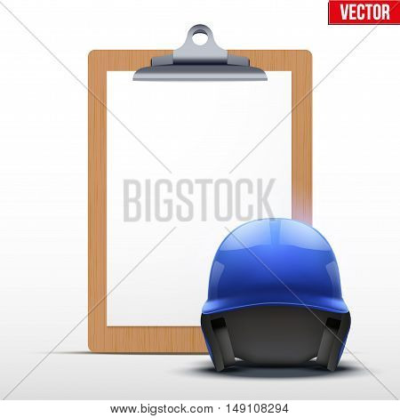 Coaching blank clipboard and baseball helmet. Editable Vector illustration Isolated on white background.