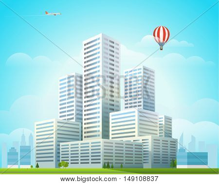 Modern cityscape vector illustration. Office buildings city skyscrapers in the morning
